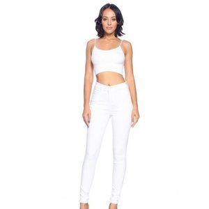 High Waist White Jeans w/ Butt Lift
